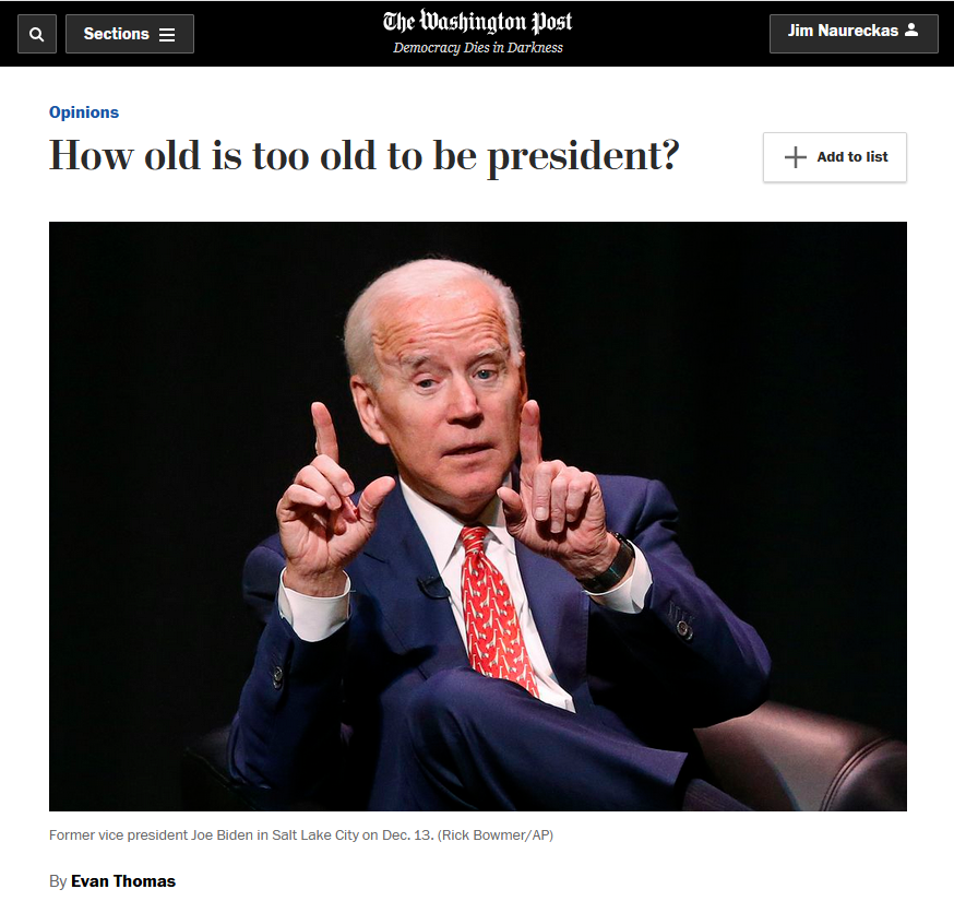 WaPo: How Old Is Too Old to Be President?