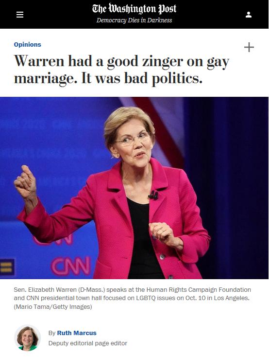 WaPo: Warren had a good zinger on gay marriage. It was bad politics.