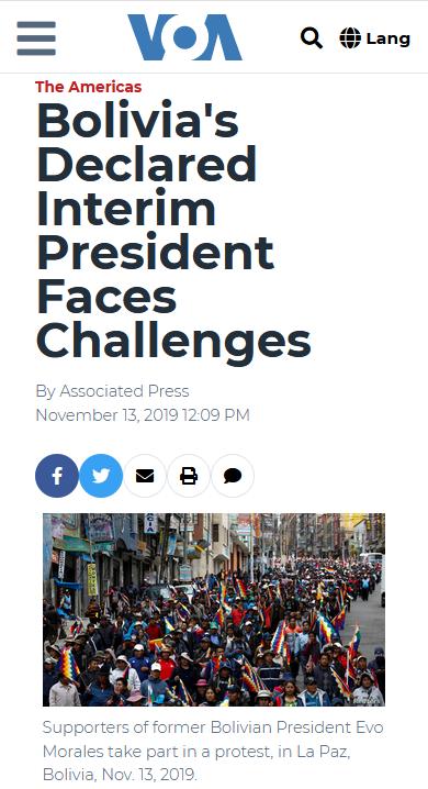 AP: Bolivia's Declared Interim President Faces Challenges