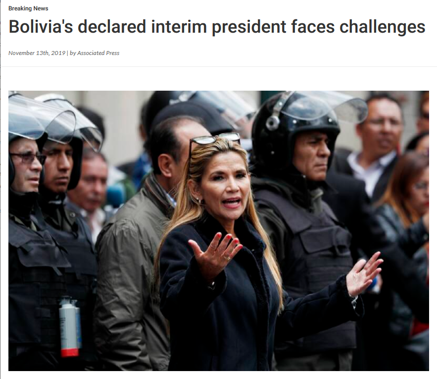 AP: Bolivia's declared interim president faces challenges