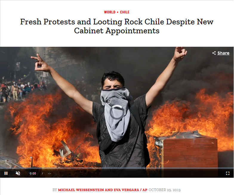 AP: Fresh Protests and Looting Rock Chile Despite New Cabinet Appointments