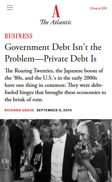 Atlantic: Government Debt Isn't the Problem—Private Debt Is