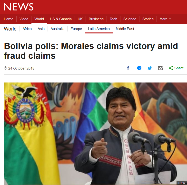 BBC: Bolivia polls: Morales claims victory amid fraud claims