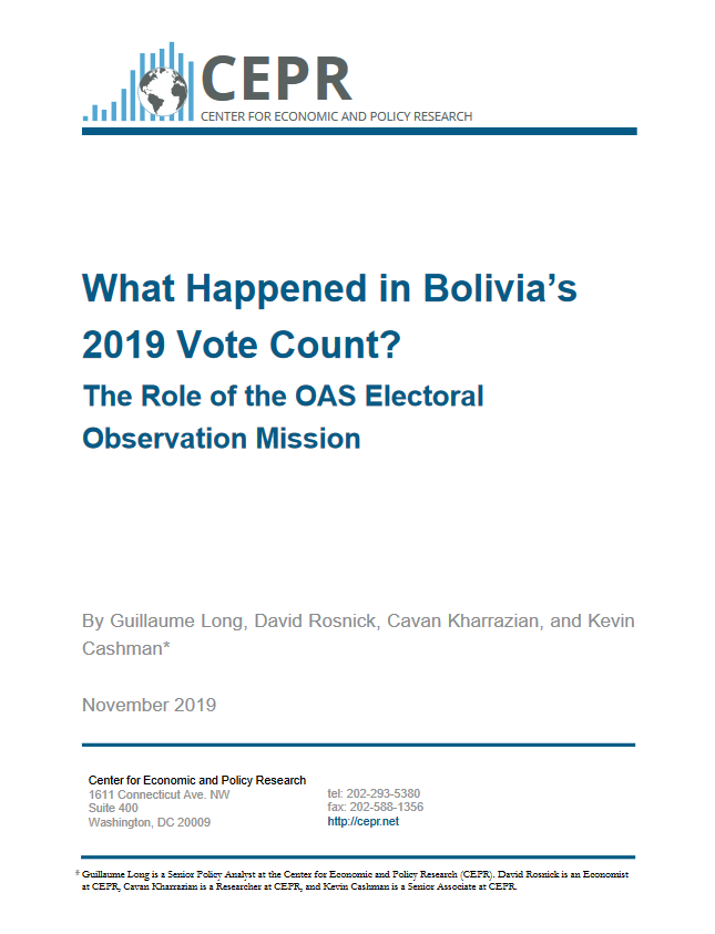 CEPR: What Happened in Bolivia's 2019 Vote Count?