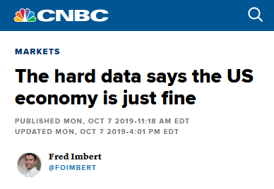 CNBC: The Hard Data Says the US Economy Is Just Fine