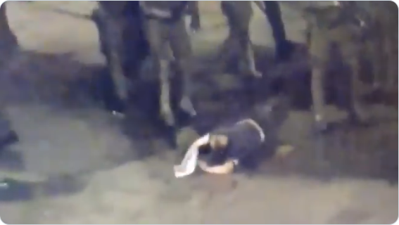 Chilean protester beaten by government forces
