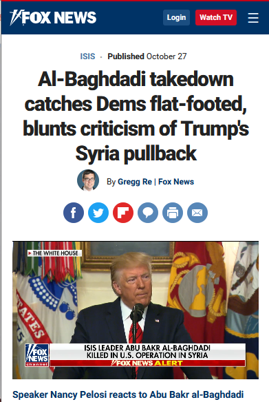 Fox News: Al-Baghdadi takedown catches Dems flat-footed, blunts criticism of Trump's Syria pullback