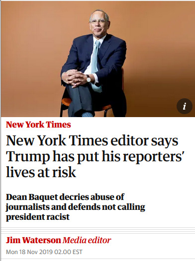 Guardian: New York Times editor says Trump has put his reporters' lives at risk