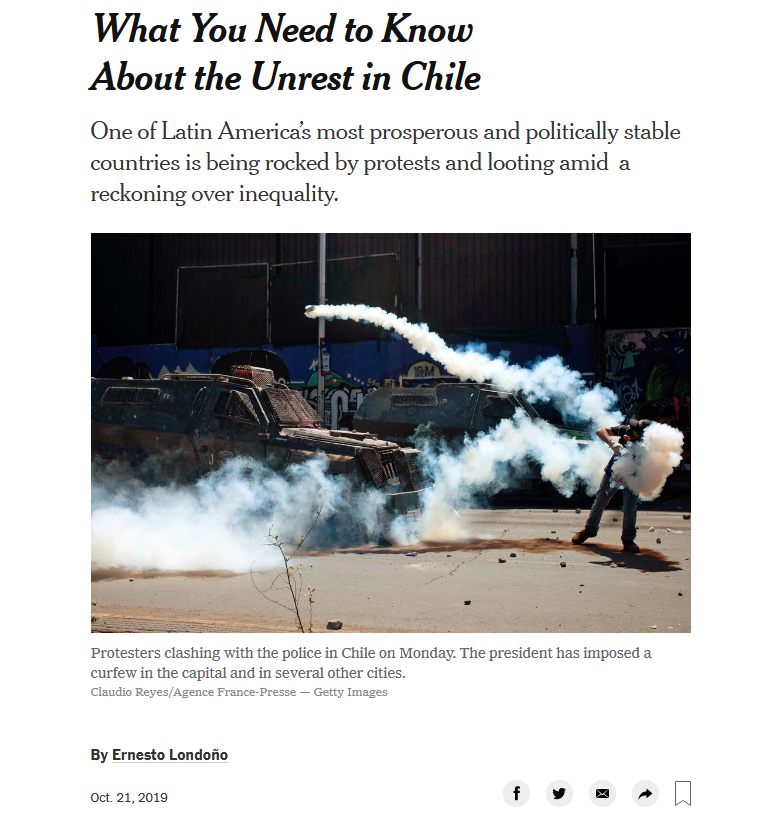 NYT: What You Need to Know About the Unrest in Chile