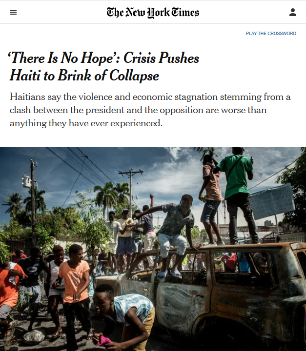 NYT: 'There Is No Hope': Crisis Pushes Haiti to Brink of Collapse