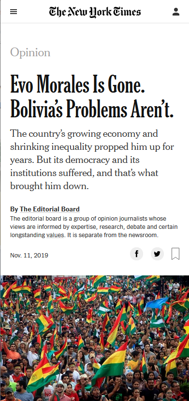 NYT: Evo Morales Is Gone. Bolivia's Problems Aren't.