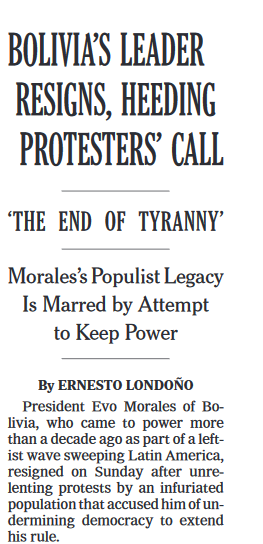 NYT: Bolivia's Leader Resigns, Heeding Protesters' Call