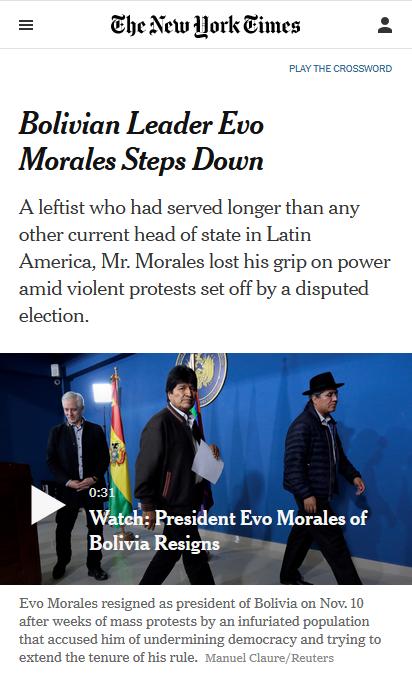 NYT: Bolivian Leader Evo Morales Steps Down