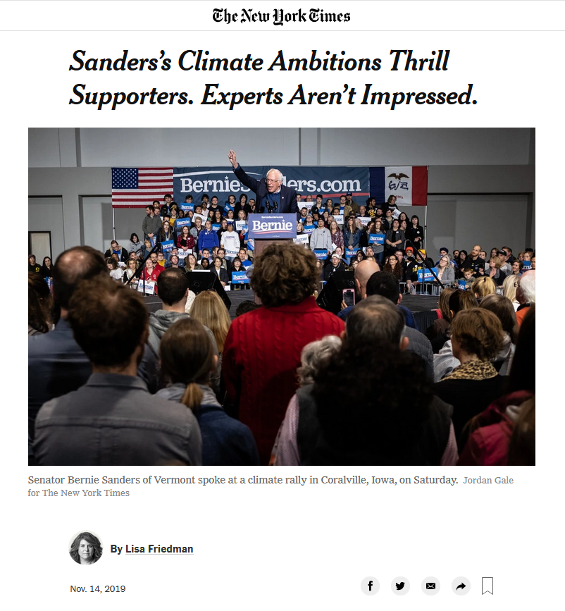 NYT: Sanders's Climate Ambitions Thrill Supporters. Experts Aren't Impressed.