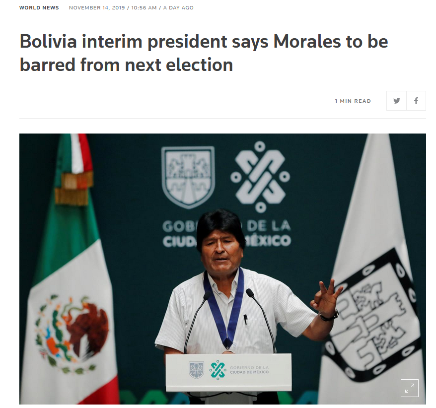 Reuters: Bolivia interim president says Morales to be barred from next election