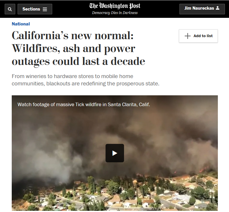 WaPo: California's new normal: Wildfires, ash and power outages could last a decade