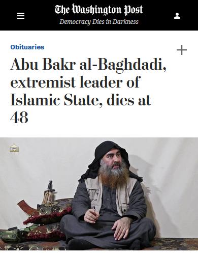WaPo: Abu Bakr al-Baghdadi, extremist leader of Islamic State, dies at 48