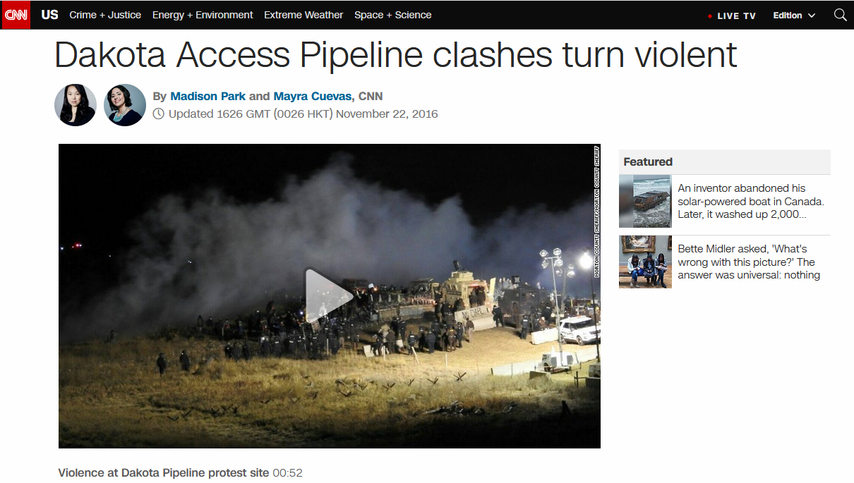 CNN: Dakota Access Pipeline clashes turn violent