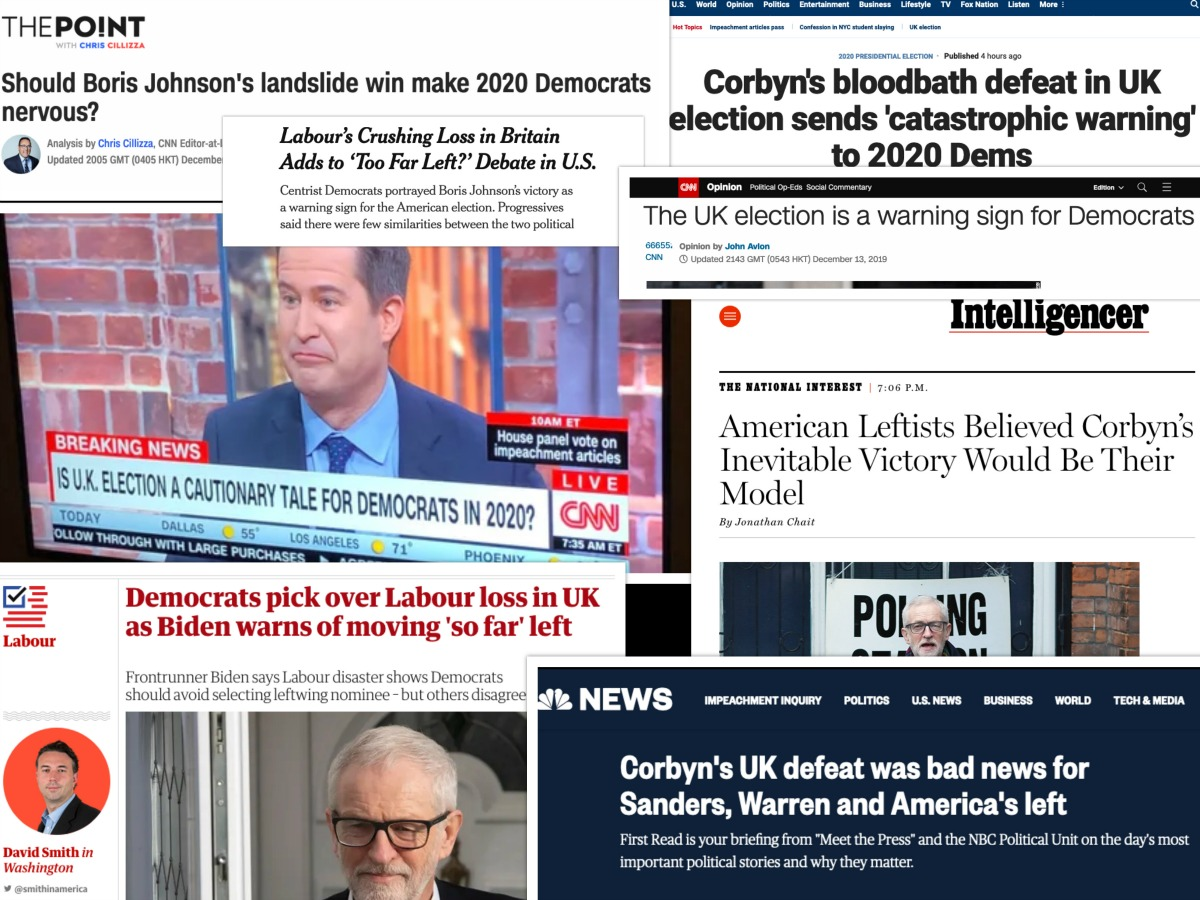 Collage of headlines warning Democrats not to nominate a leftist like Jeremy Corbyn.