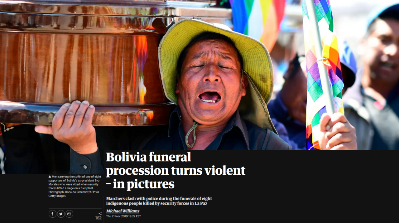 "Guardian: ""Bolivia Funeral Procession Turns Violent"