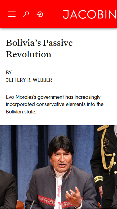 Jacobin: Bolivia's Passive Revolution