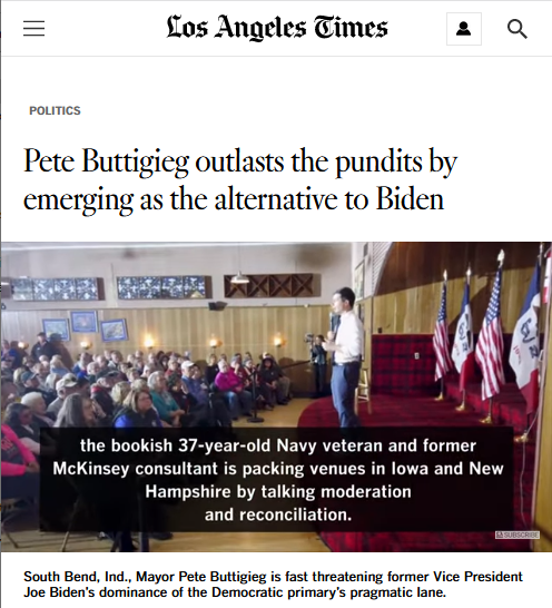 LAT: Pete Buttigieg outlasts the pundits by emerging as the alternative to Biden