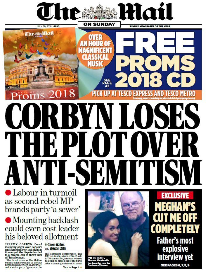 Mail: Corbyn Loses the Plot Over Antisemitism