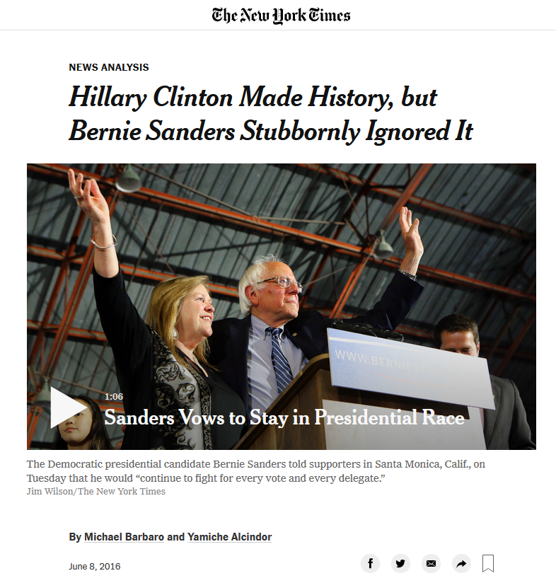 NYT: Hillary Clinton Made History, But Bernie Sanders Stubbornly Ignored It
