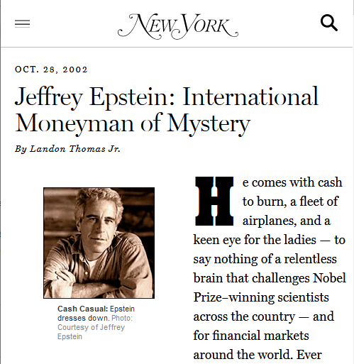 New York: Jeffrey Epstein: International Moneyman of Mystery