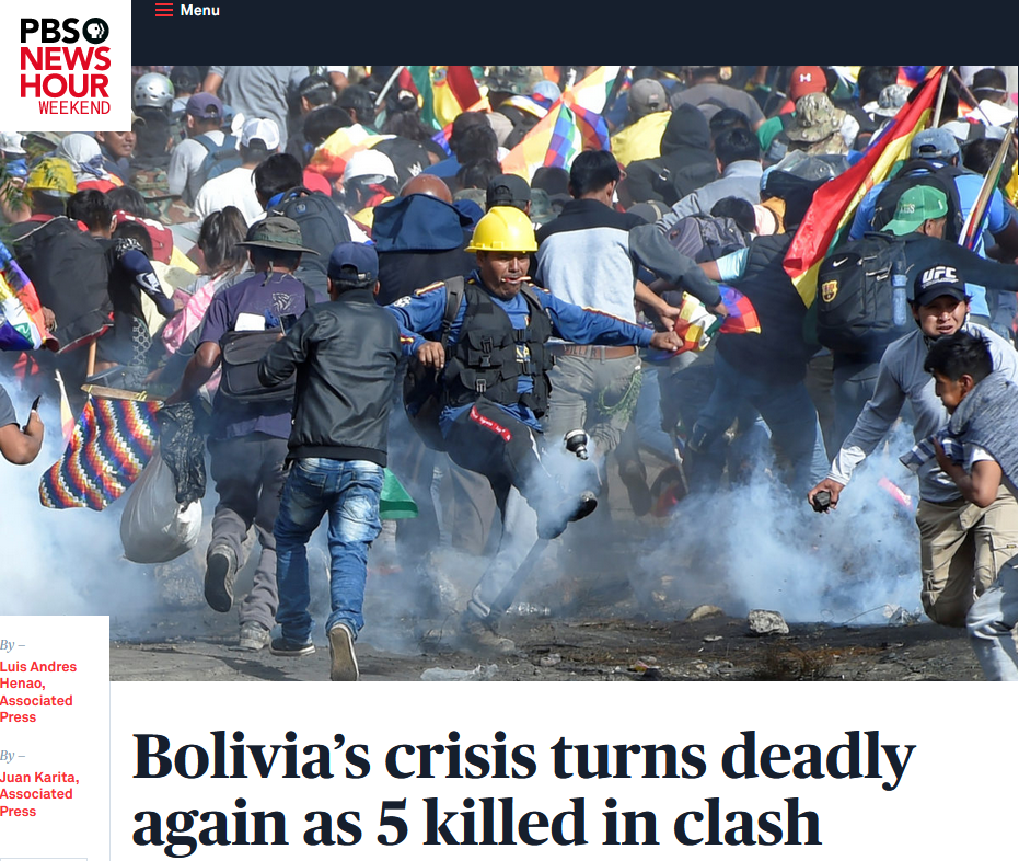 NewsHour: Bolivia's crisis turns deadly again as 5 killed in clash