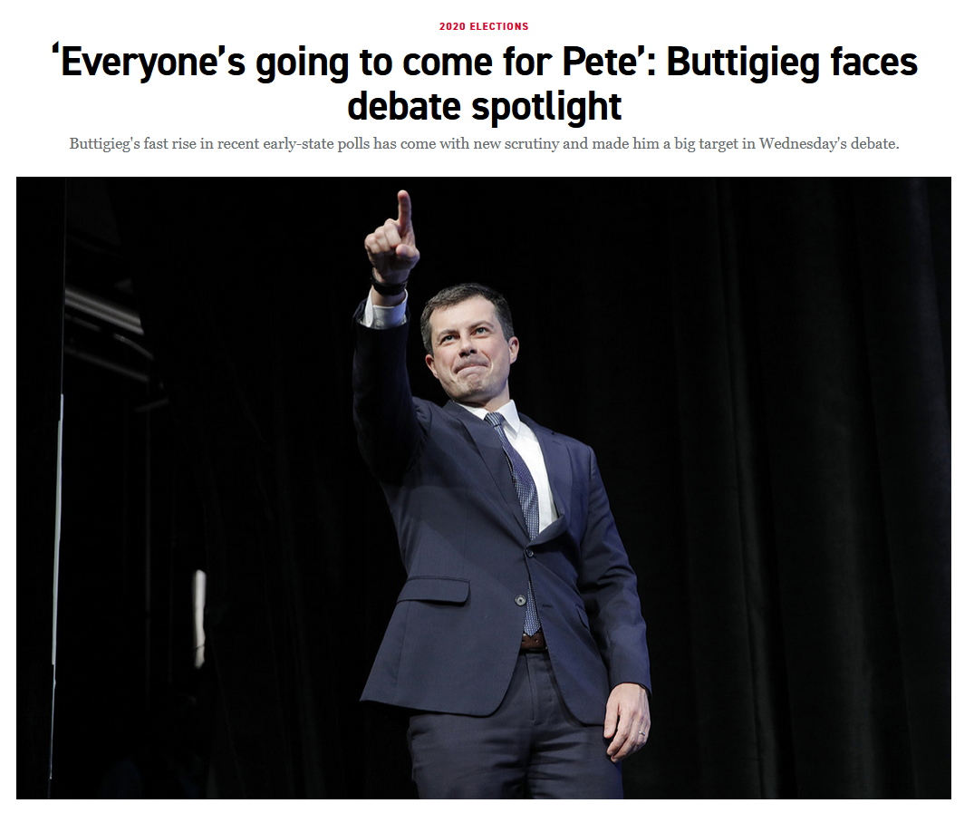 Politico: 'Everyone's going to come for Pete': Buttigieg faces debate spotlight