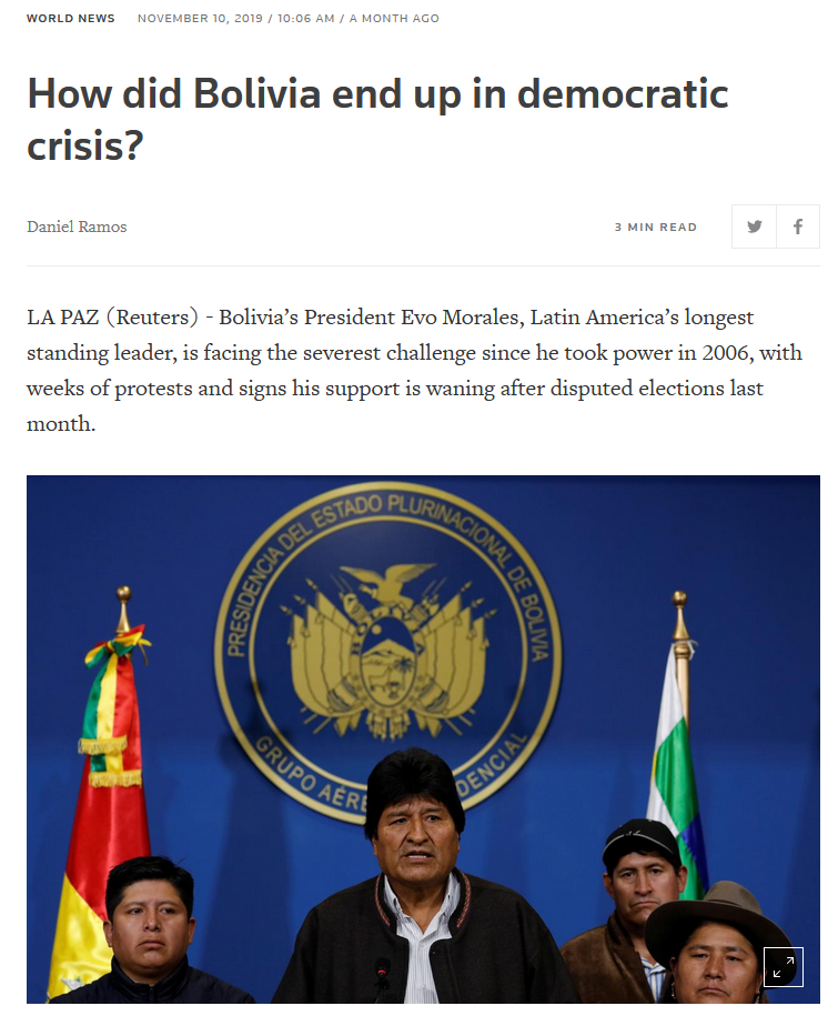 Reuters: How did Bolivia end up in democratic crisis?