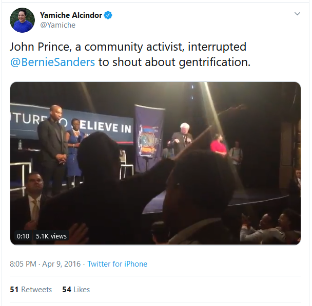 Yamiche Alcindor tweet: John Prince, a community activist, interrupted @BernieSanders to shout about gentrification.