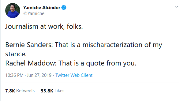 Yamiche Alcindor tweet: Journalism at work, folks.