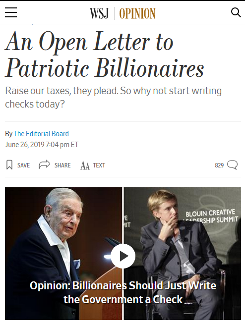 WSJ: An Open Letter to Patriotic Billionaires