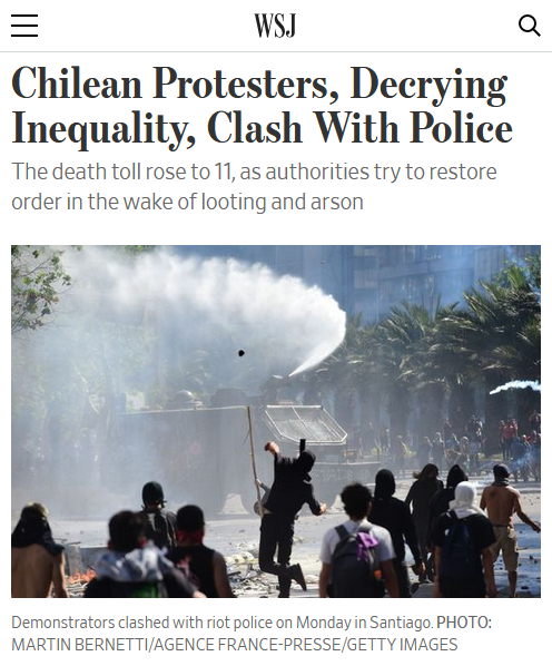 WSJ: Chilean Protesters, Decrying Inequality, Clash With Police