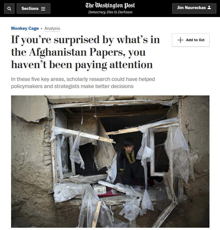 WaPo: If you're surprised by what's in the Afghanistan Papers, you haven't been paying attention