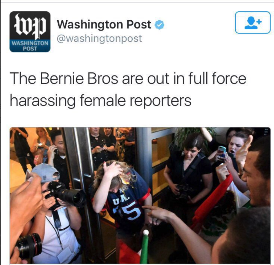 WaPo: The Bernie Bros Are Out in Full Force Harassing Female Reporters