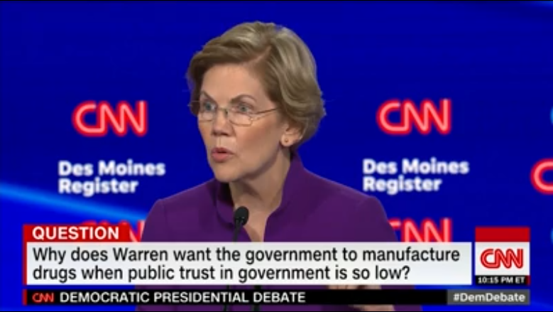 Elizabeth Warren at the CNN Iowa debate