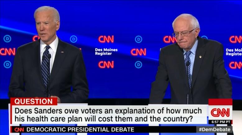 Joe Biden and Bernie Sanders at the CNN Iowa debate