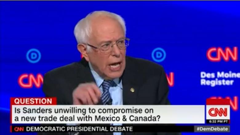 Bernie Sanders at CNN's Iowa debate
