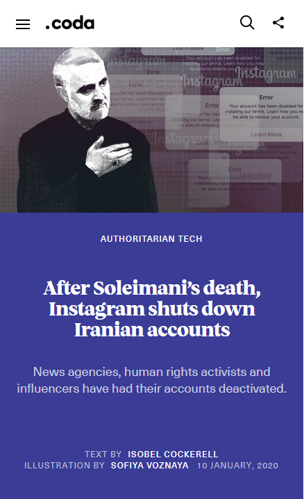 Coda: After Soleimani's death, Instagram shuts down Iranian accounts
