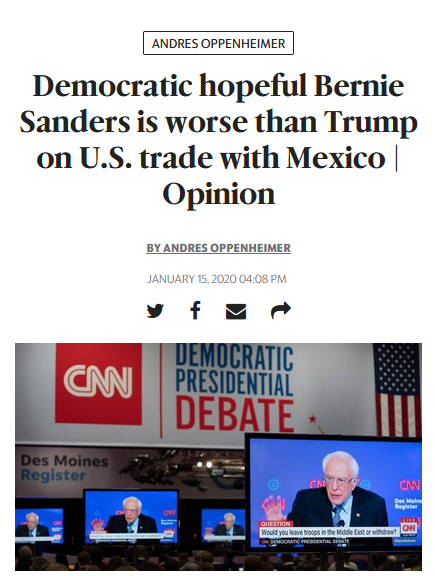 Miami Herald: Democratic hopeful Bernie Sanders is worse than Trump on U.S. trade with Mexico