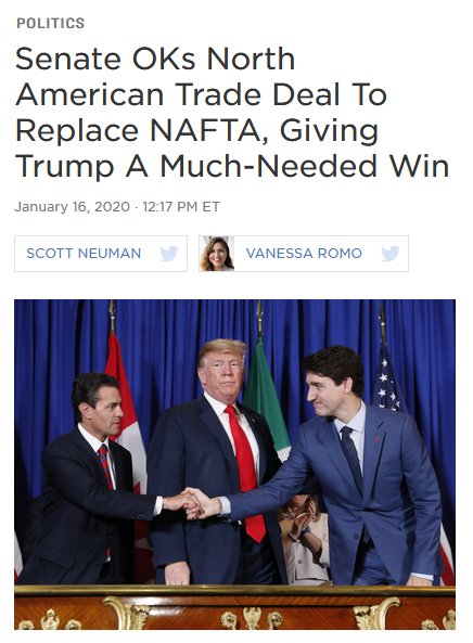 NPR: Senate OKs North American Trade Deal To Replace NAFTA, Giving Trump A Much-Needed Win