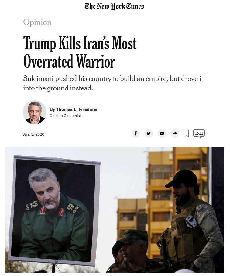 NYT: Trump Kills Iran's Most Overrated Warrior