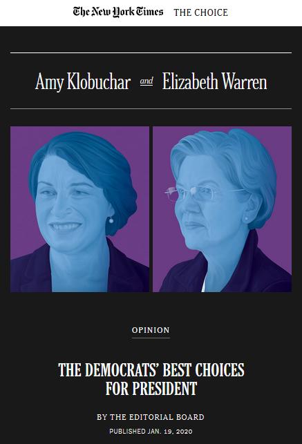 NYT: Amy Klobuchar and Elizabeth Warren: The Democrats' Best Choices for President
