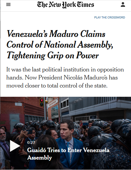 NYT: Venezuela's Maduro Claims Control of National Assembly, Tightening Grip on Power