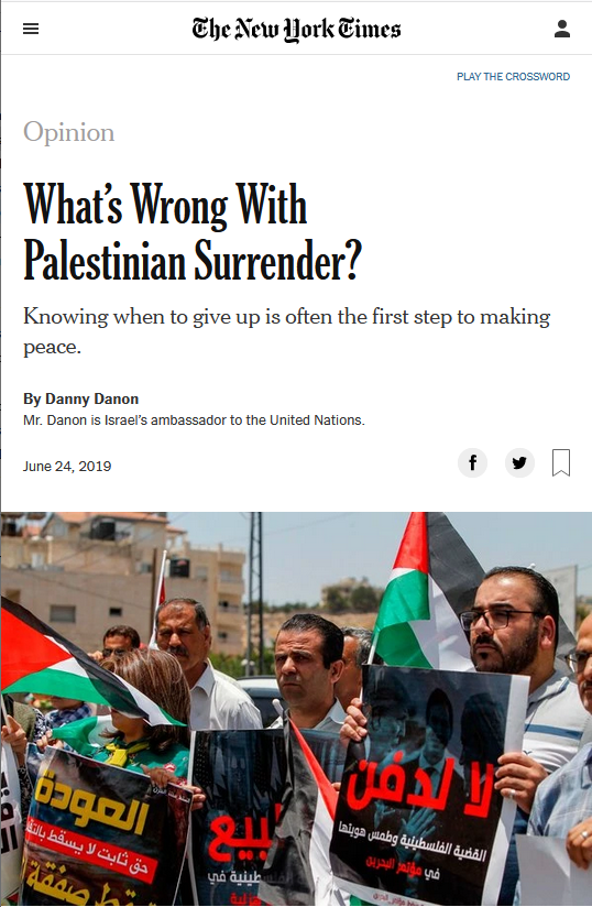 NYT: What's Wrong With Palestinian Surrender?
