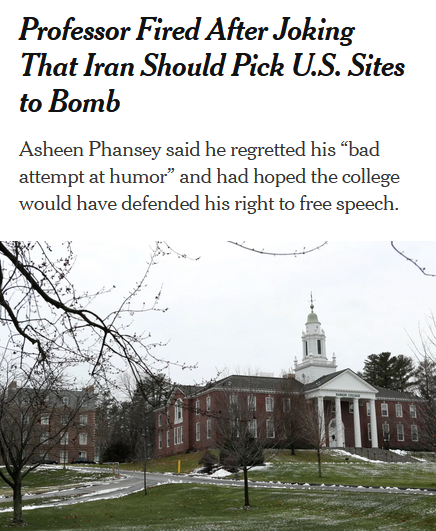 NYT: Professor Fired After Joking That Iran Should Pick U.S. Sites to Bomb