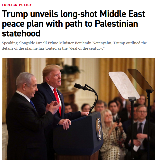 Politico: Trump unveils long-shot Middle East peace plan with path to Palestinian statehood